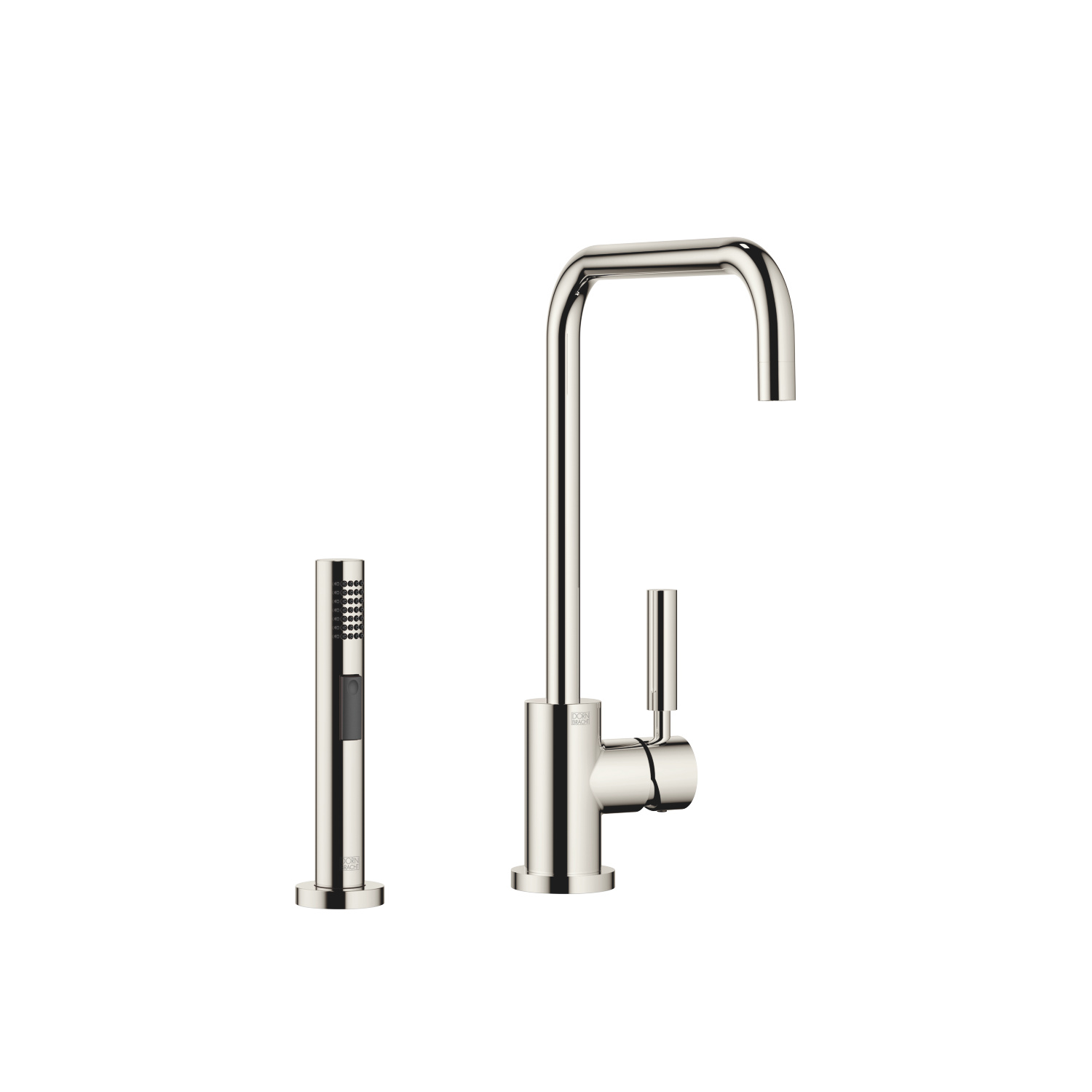 Single-lever mixer with rinsing spray set - platinum