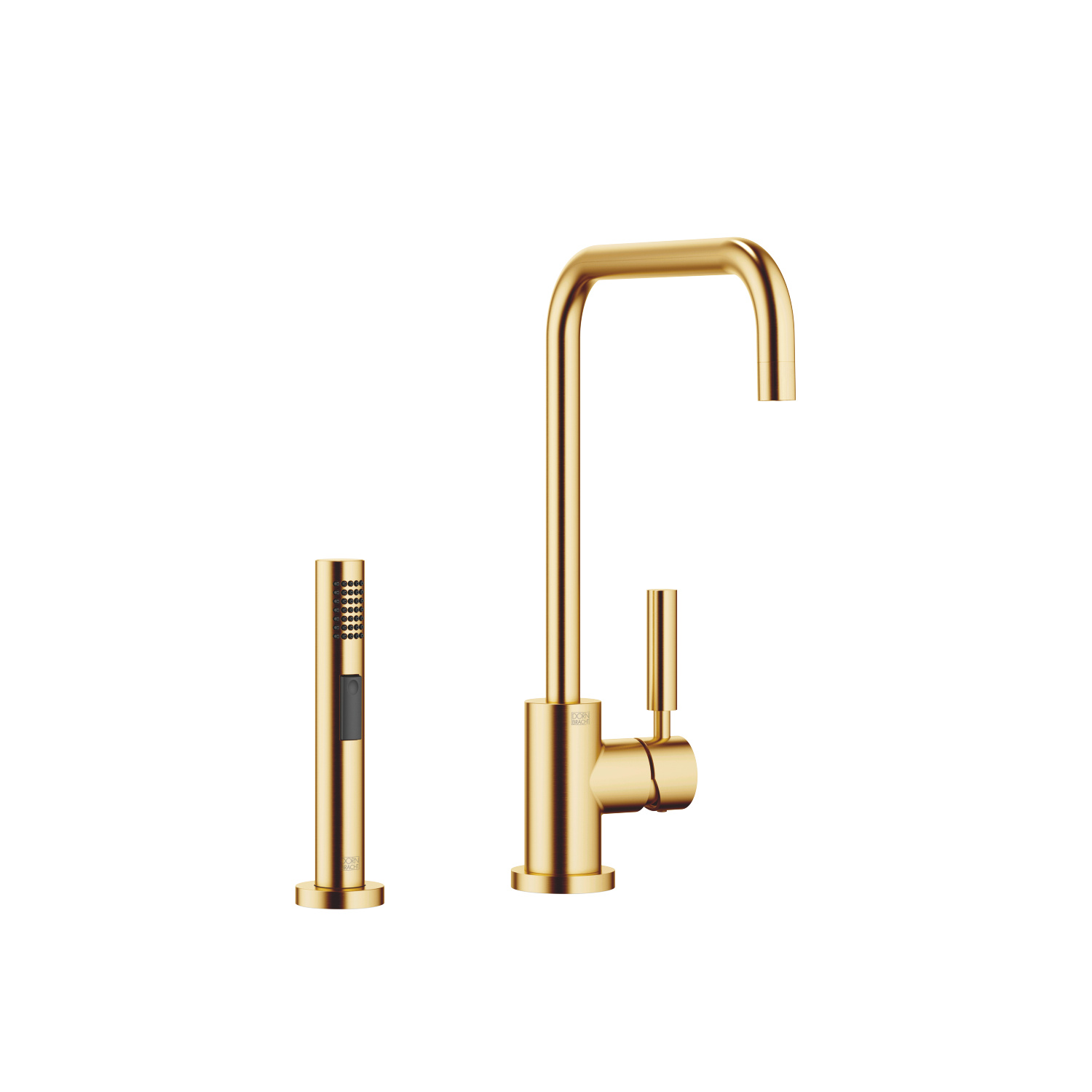 Single-lever mixer with side spray set - Brushed Durabrass - 33 820 625-28 + 27 721 970-28