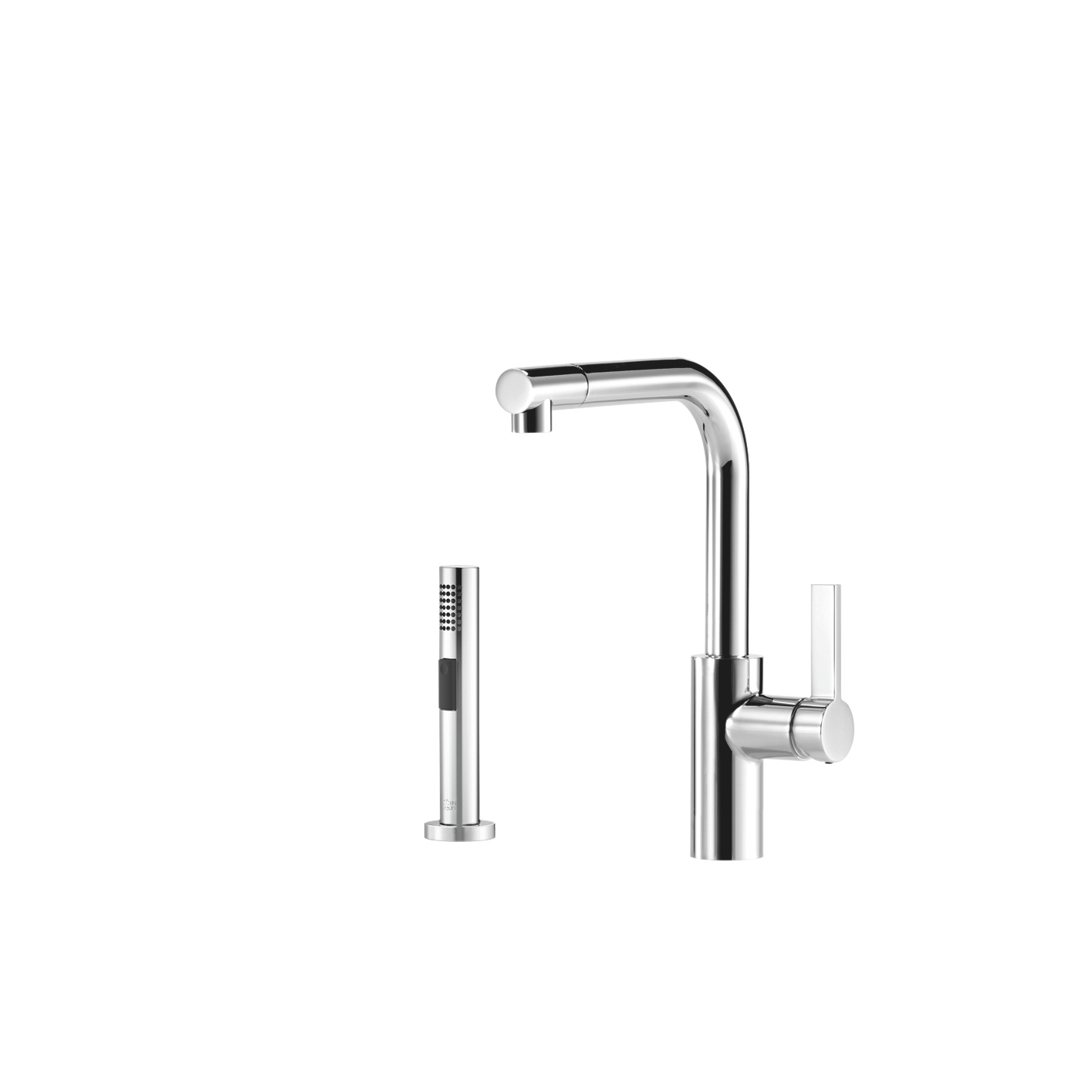 Single-lever mixer with rinsing spray set - platinum matt
