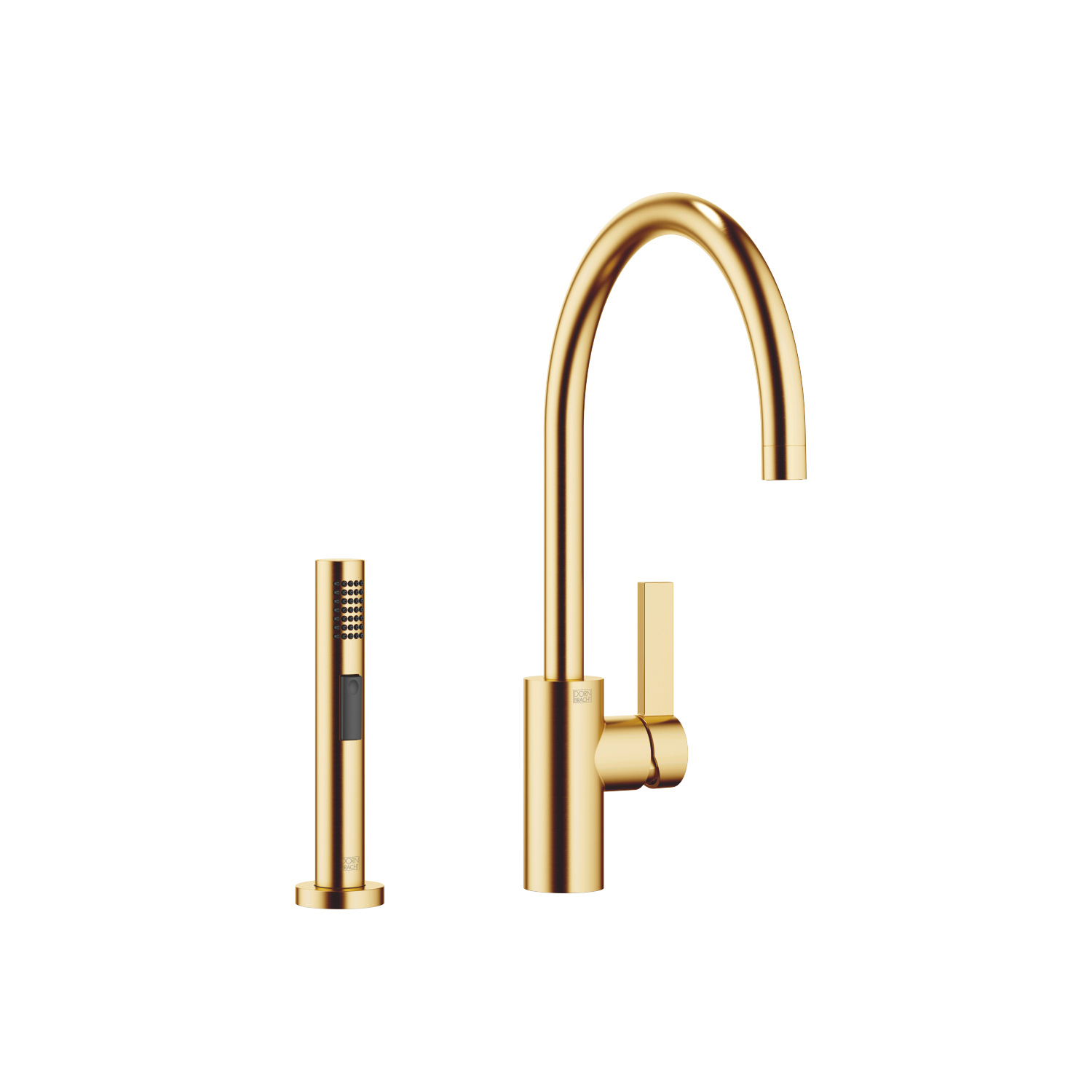 Single-lever mixer with rinsing spray set - brushed Durabrass