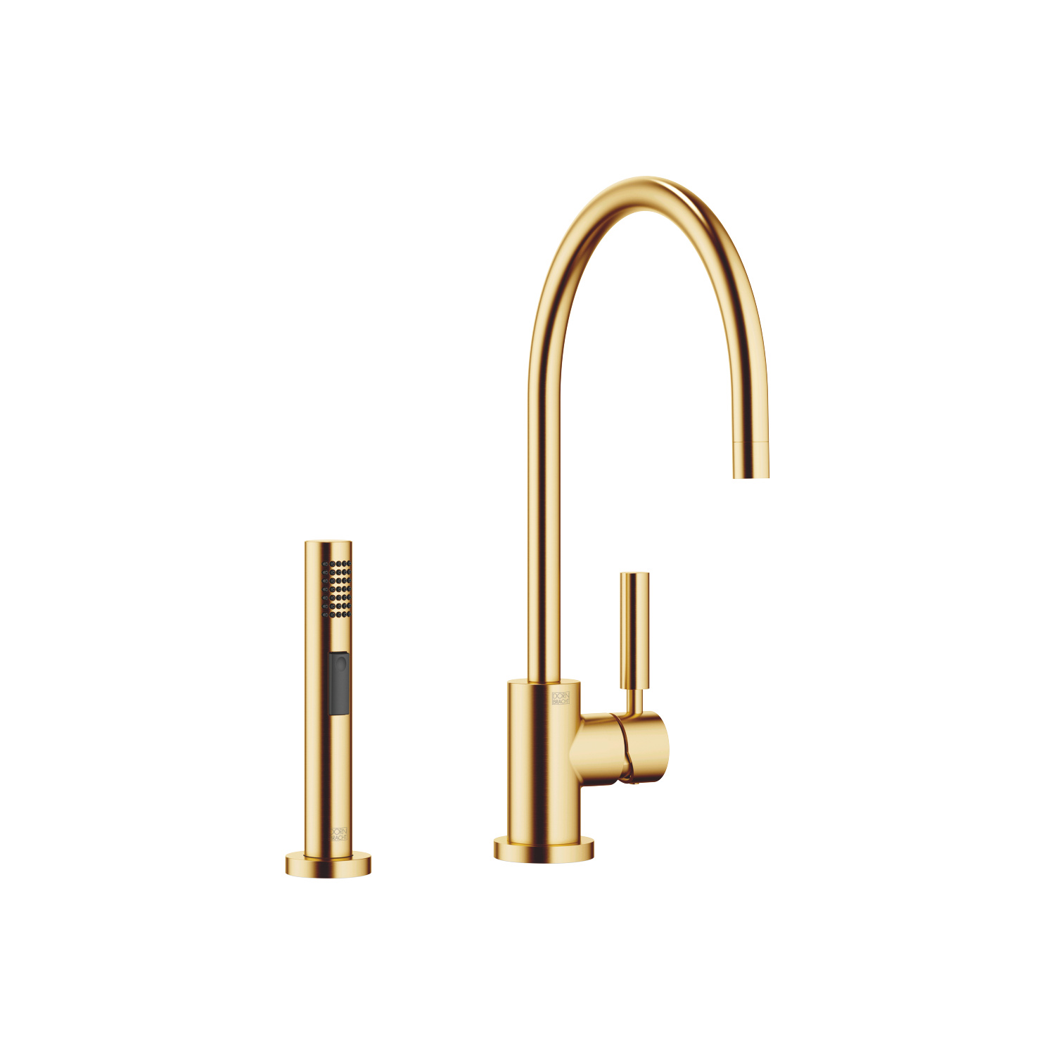 Single-lever mixer with side spray set - Brushed Durabrass
