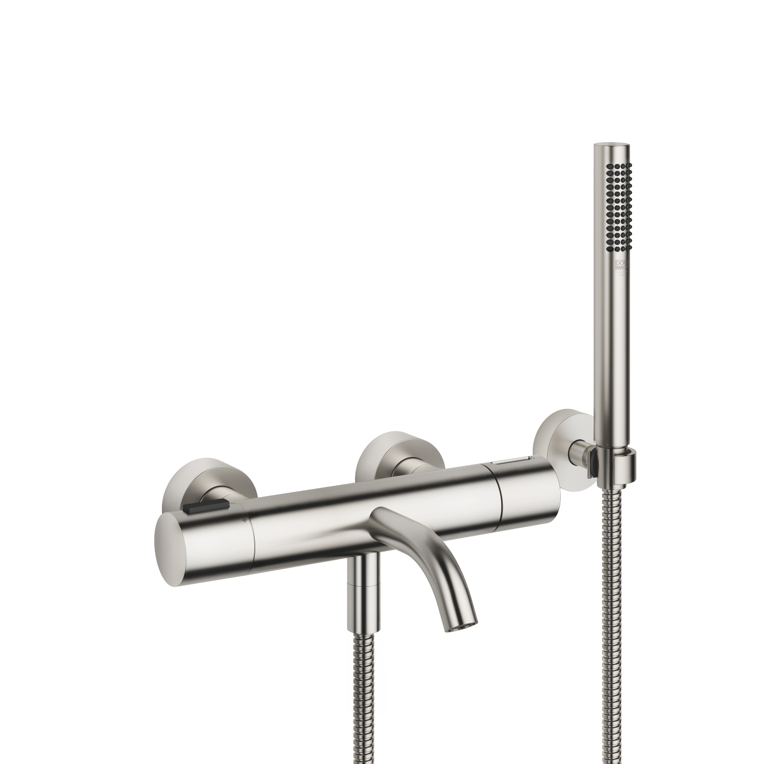 Tub thermostat for wall-mounted installation with hand shower set - platinum matte