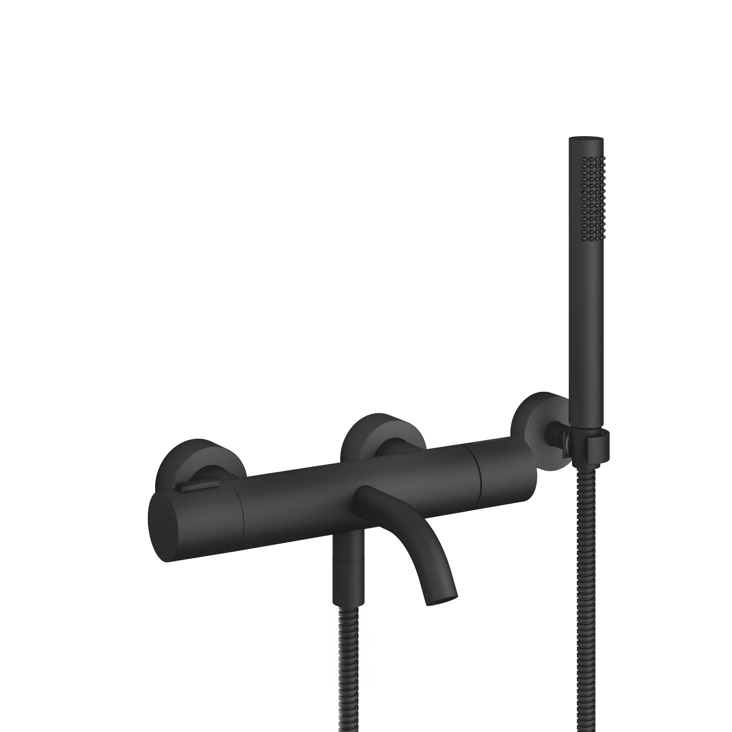 Bath thermostat for wall mounting with hand shower set - matt black