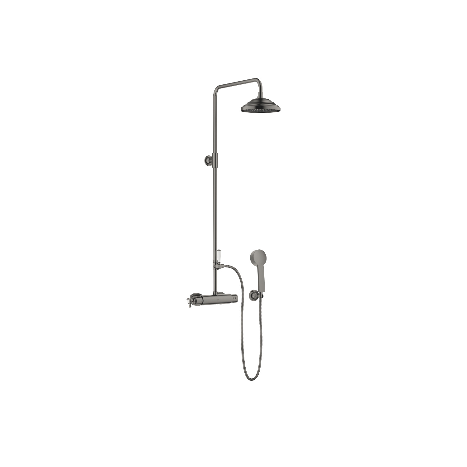 Shower thermostat for wall mounting with fixed and hand shower - Dark Platinum matt - 34 455 970-99 + 11 420 360-99