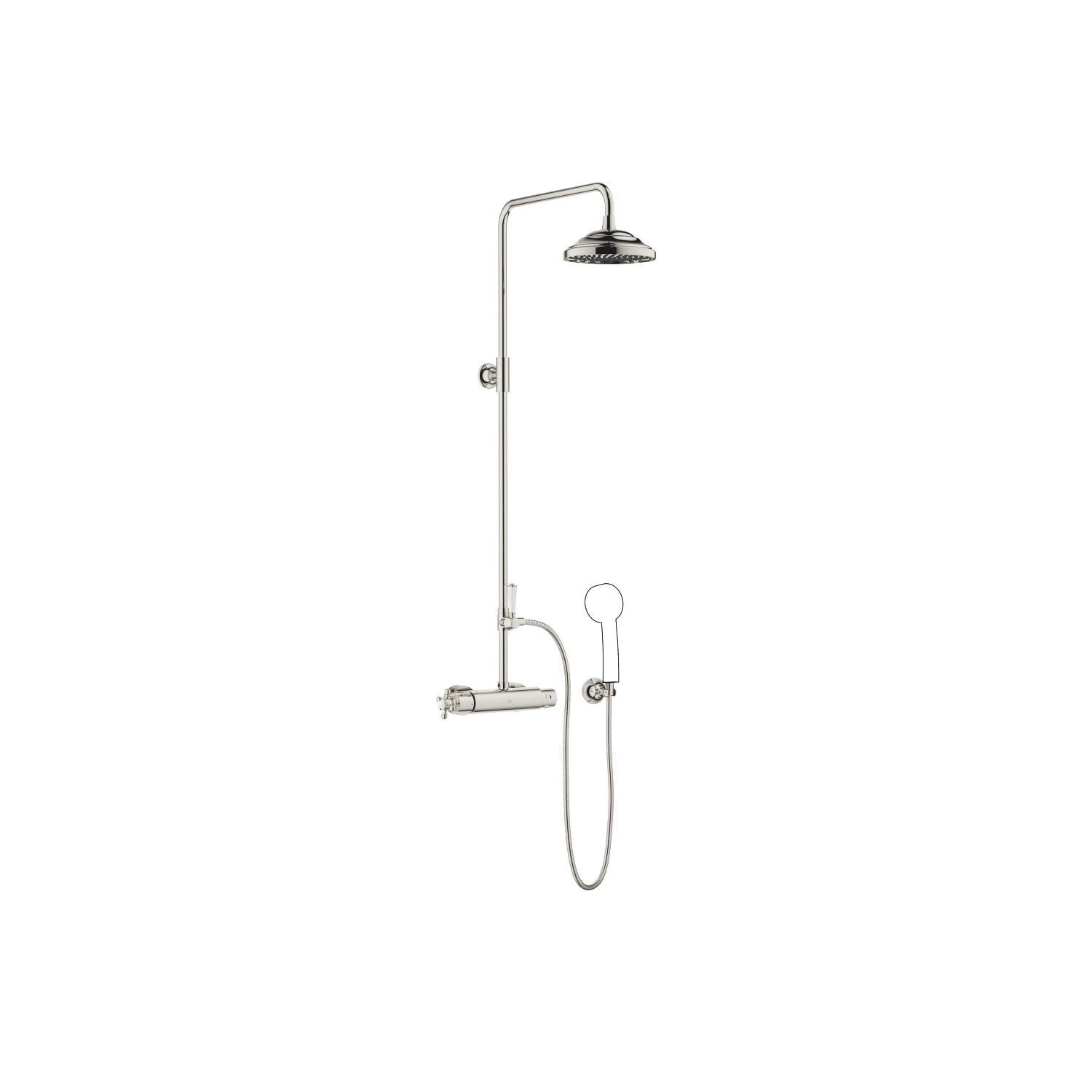 Showerpipe with shower thermostat without hand shower - platinum