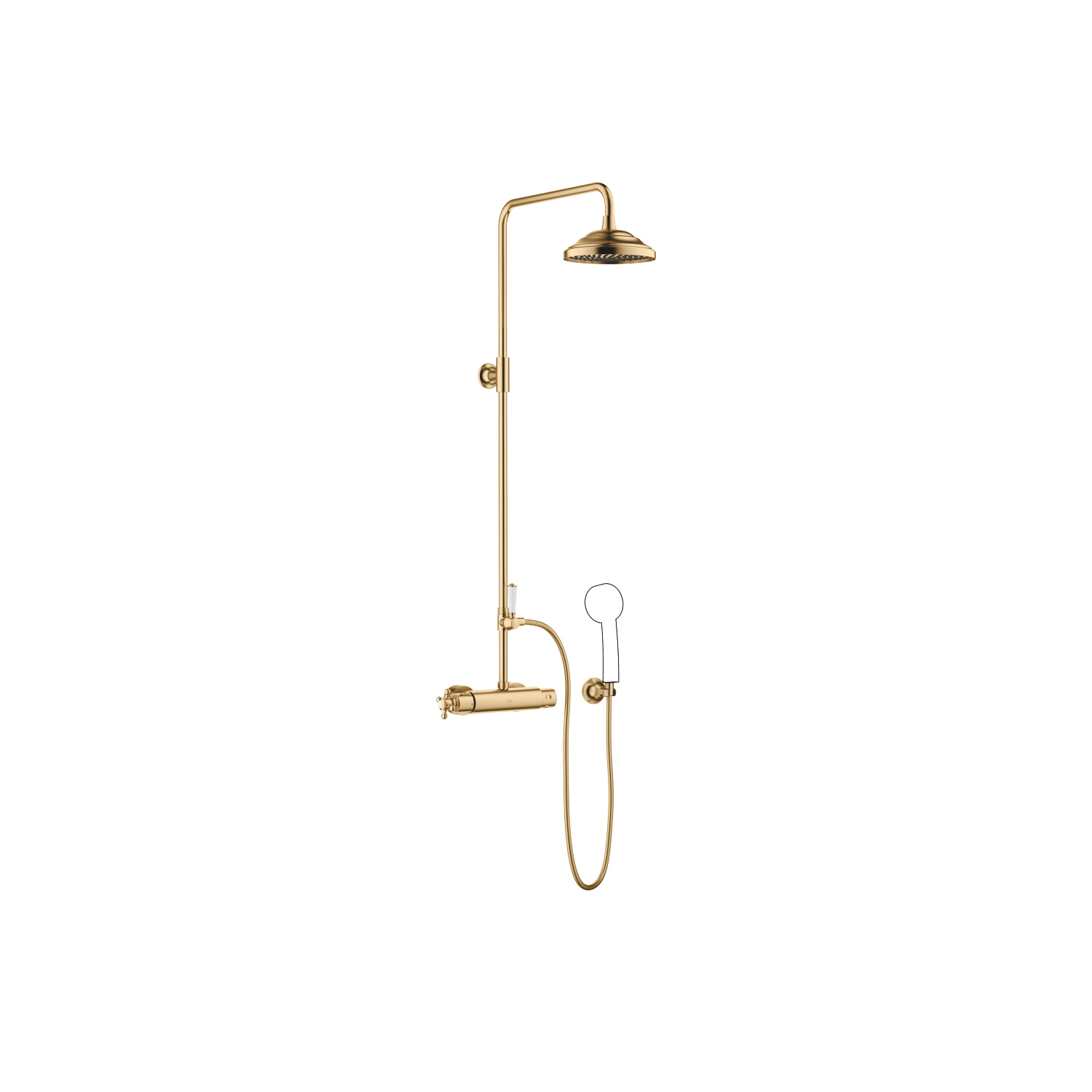 Showerpipe with shower thermostat without hand shower - brushed Durabrass