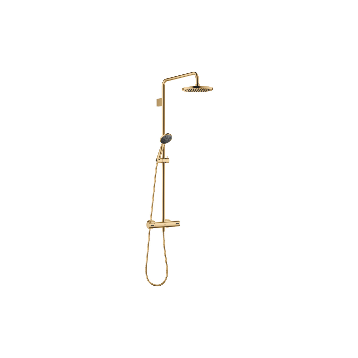 Showerpipe with shower thermostat - brushed Durabrass