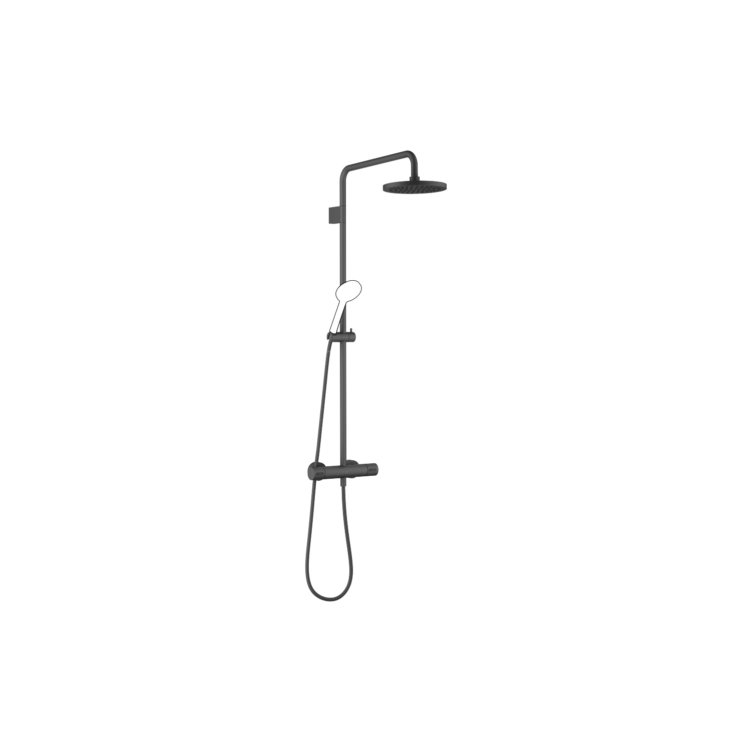 Exposed shower set with shower thermostat without hand shower - black matte
