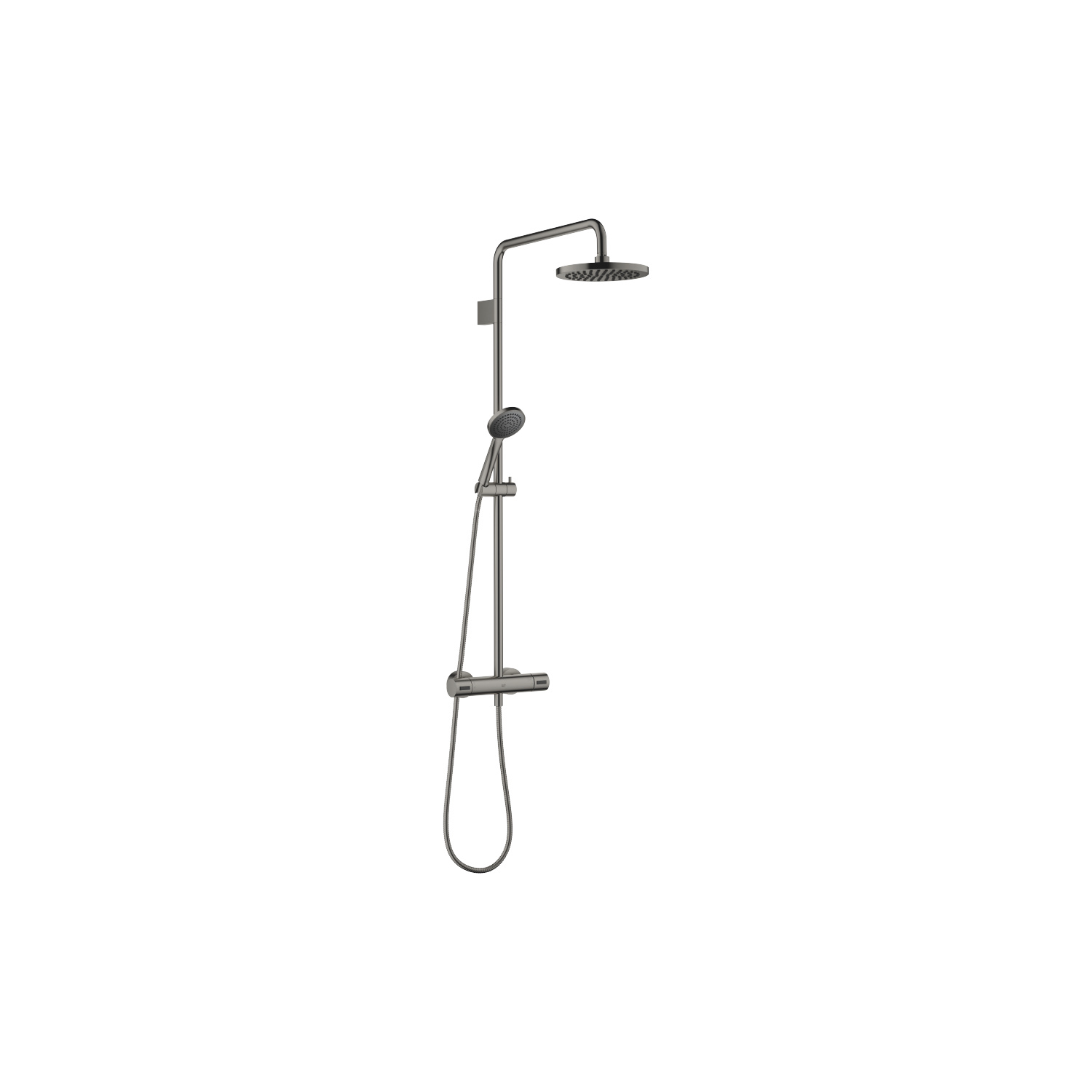 Exposed shower set with shower thermostat - platinum