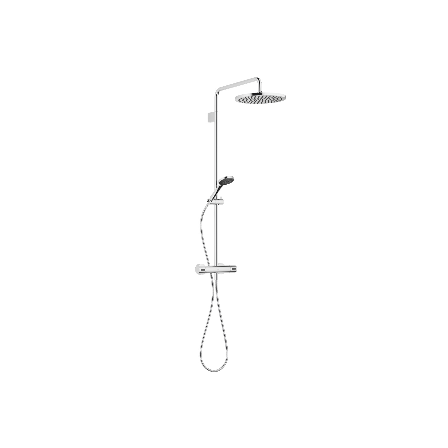 Showerpipe with shower thermostat - polished chrome