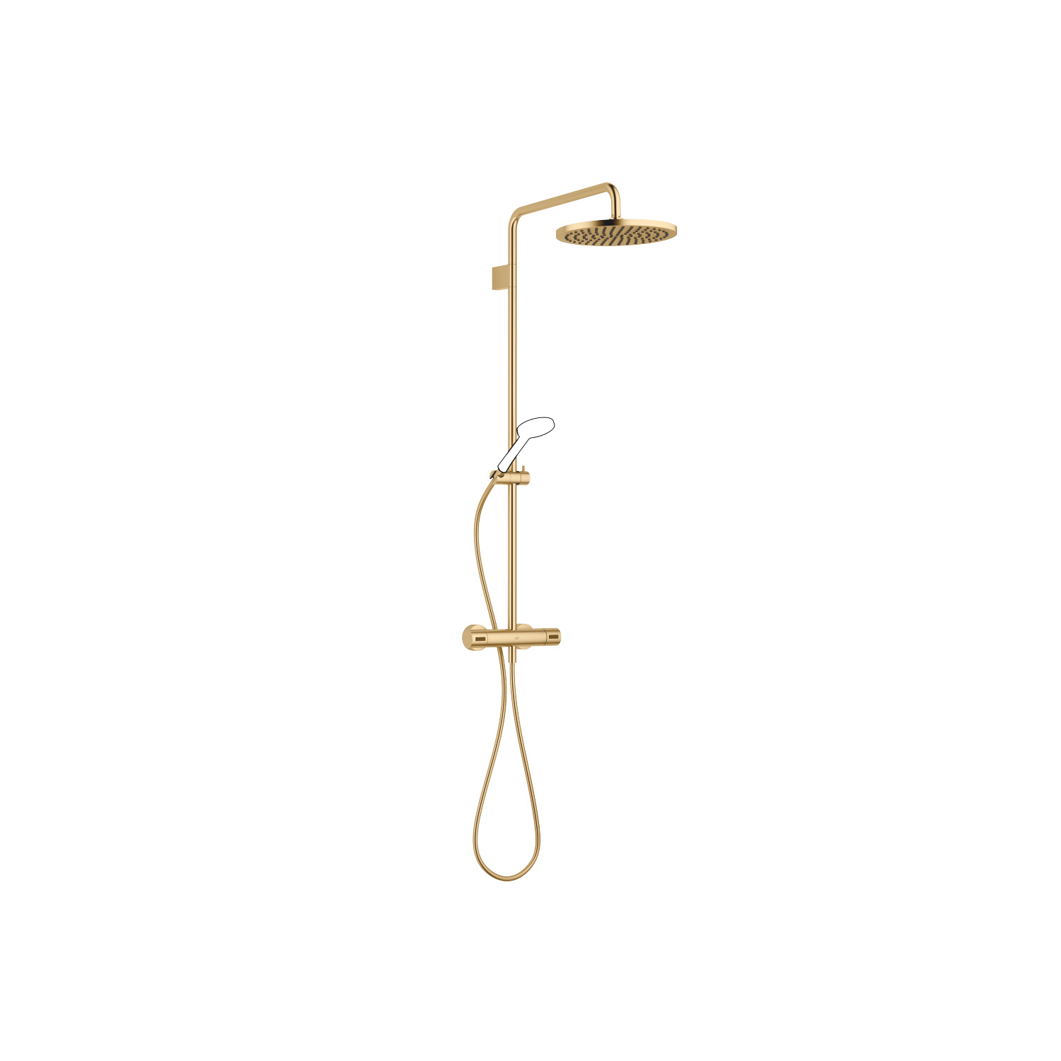 Exposed shower set with shower thermostat without hand shower - Brushed Durabrass