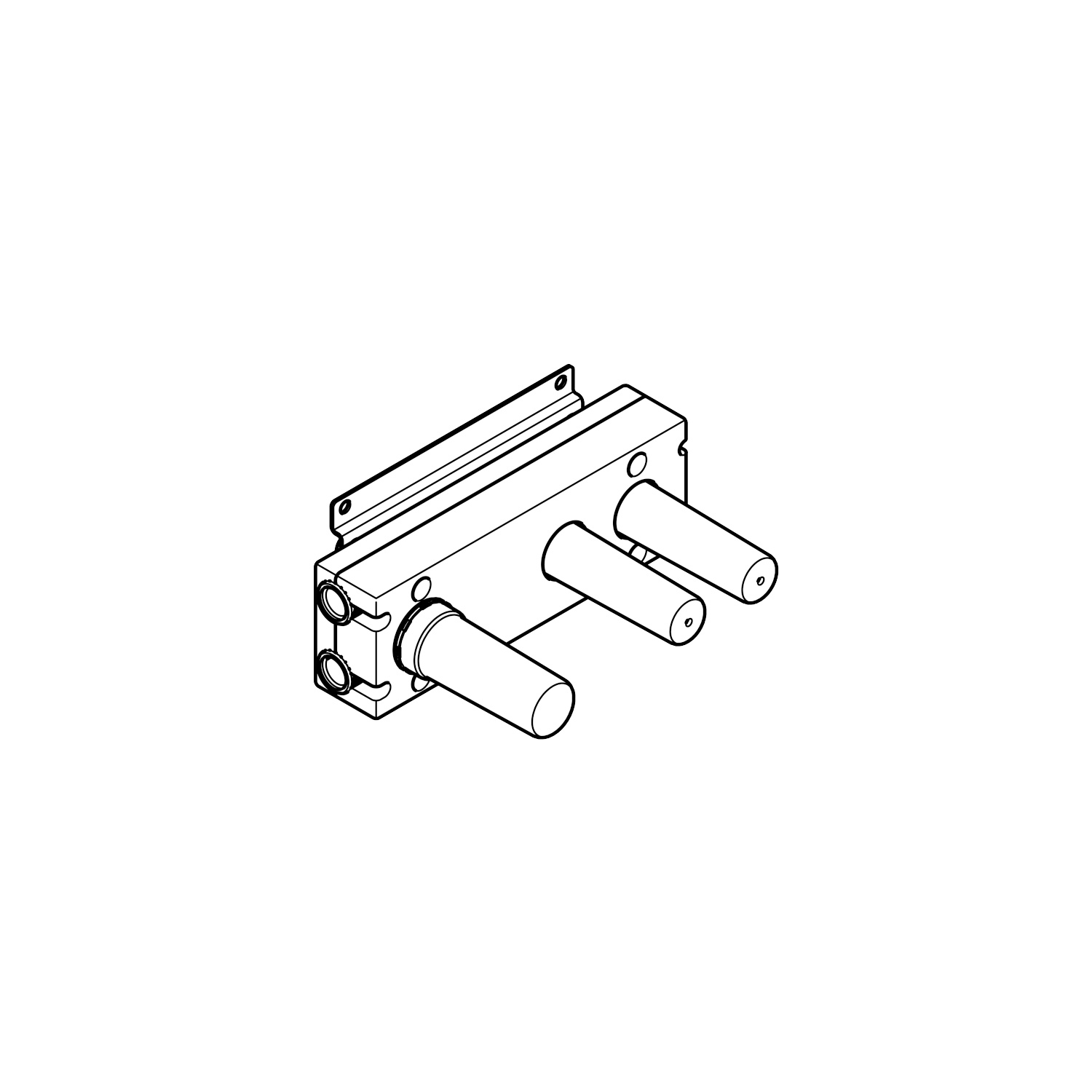 Wall valve module with 2 valves with diverter for wall mounting -