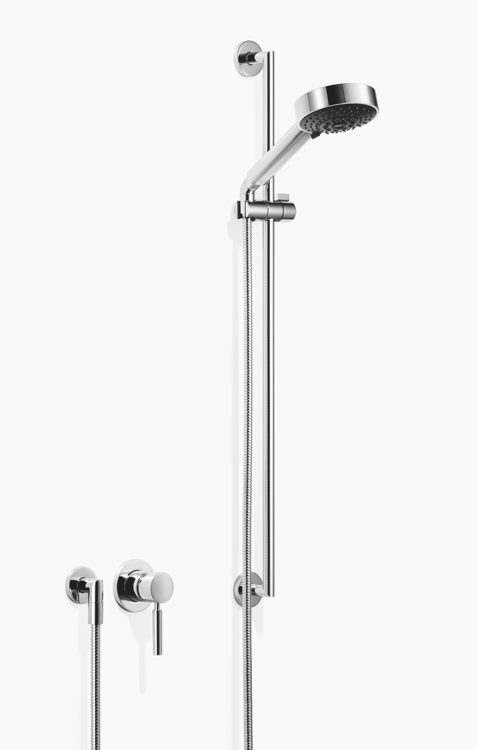 Concealed single-lever mixer with individual rosettes with shower set - polished chrome