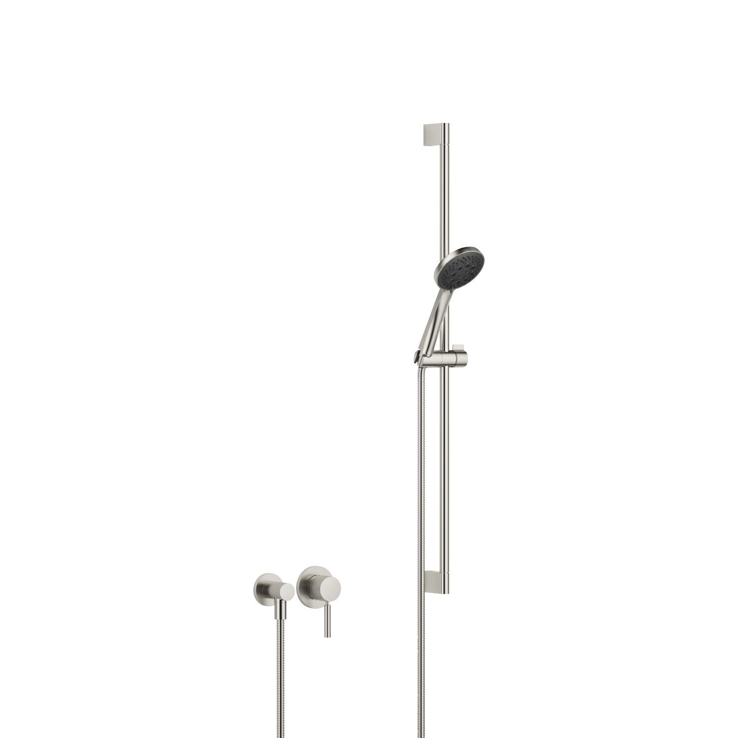 Concealed single-lever mixer with individual rosettes with shower set - platinum matt