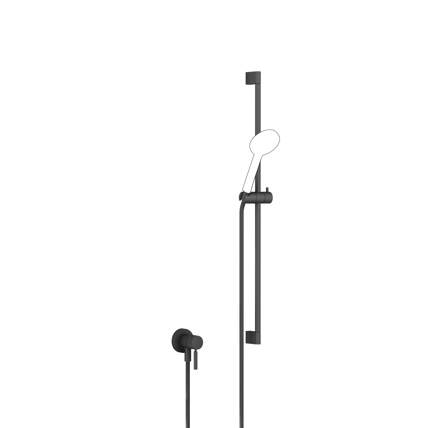 Concealed single-lever mixer with integrated shower connection with shower set without hand shower - matt black