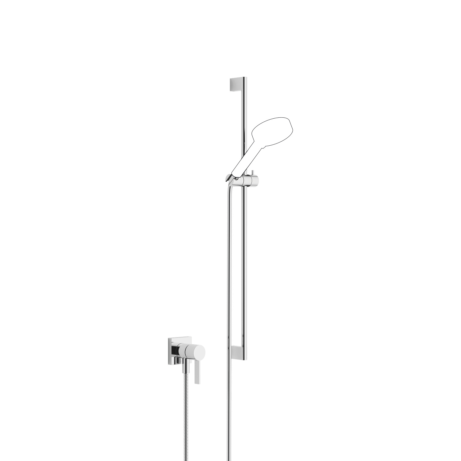 Concealed single-lever mixer with integrated shower connection with shower set without hand shower - polished chrome