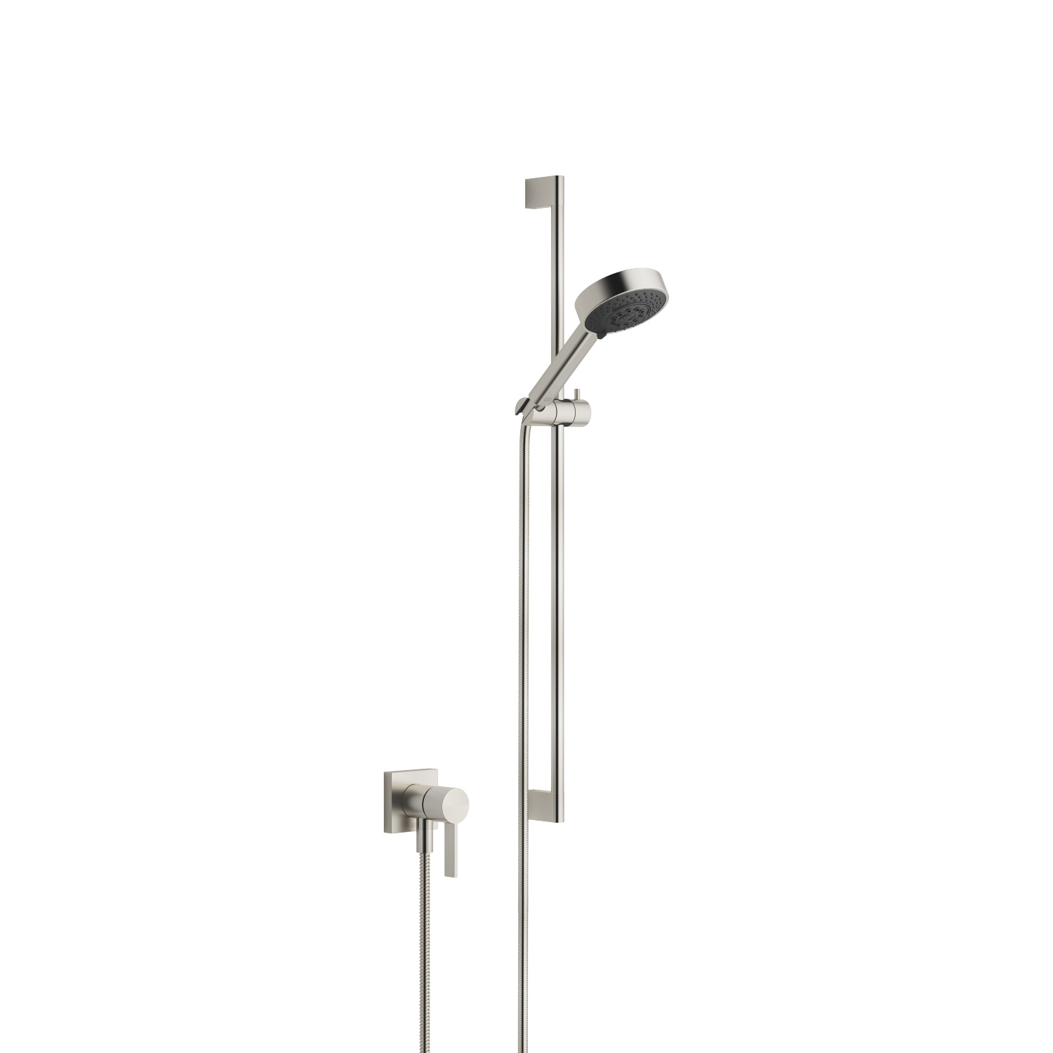 Concealed single-lever mixer with integrated shower connection with shower set - platinum matt