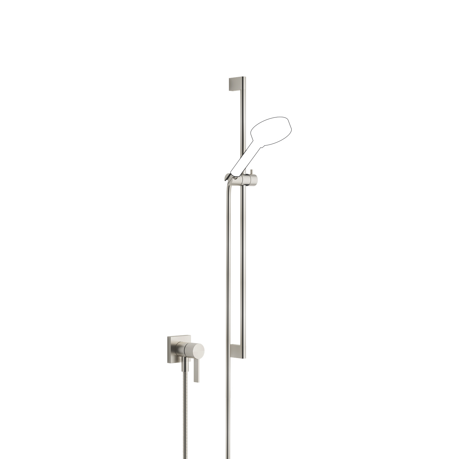 Concealed single-lever mixer with integrated shower connection with shower set without hand shower - platinum matt