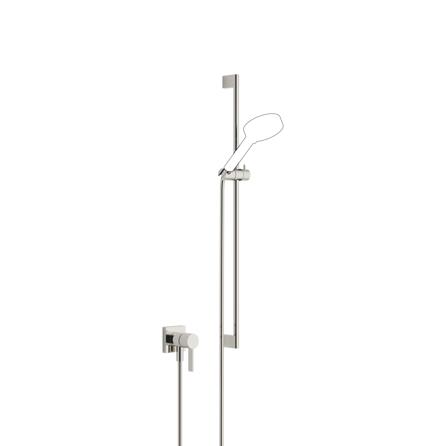Concealed single-lever mixer with integrated shower connection with shower set without hand shower - platinum