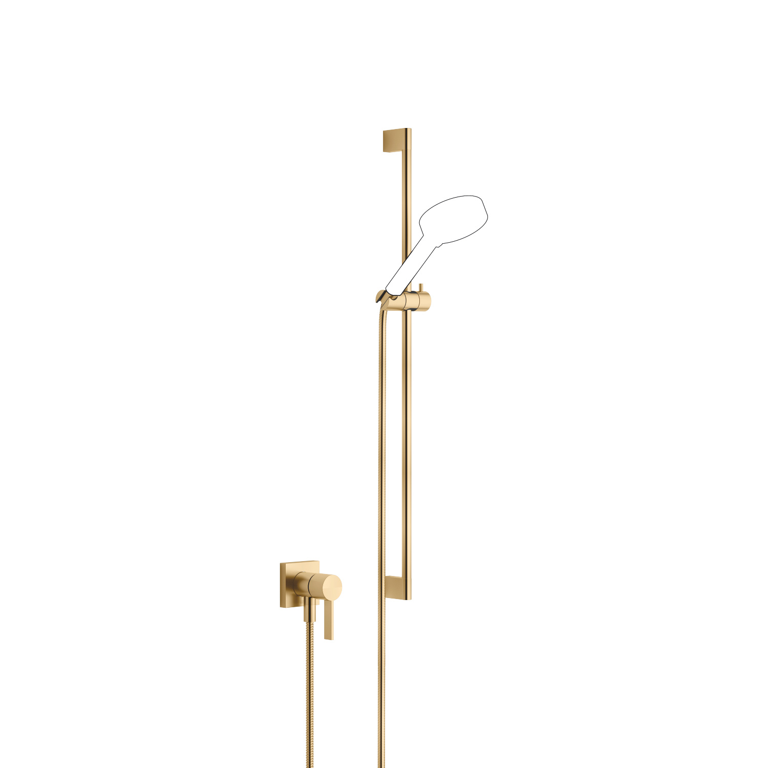 Concealed single-lever mixer with integrated shower connection with shower set without hand shower - brushed Durabrass