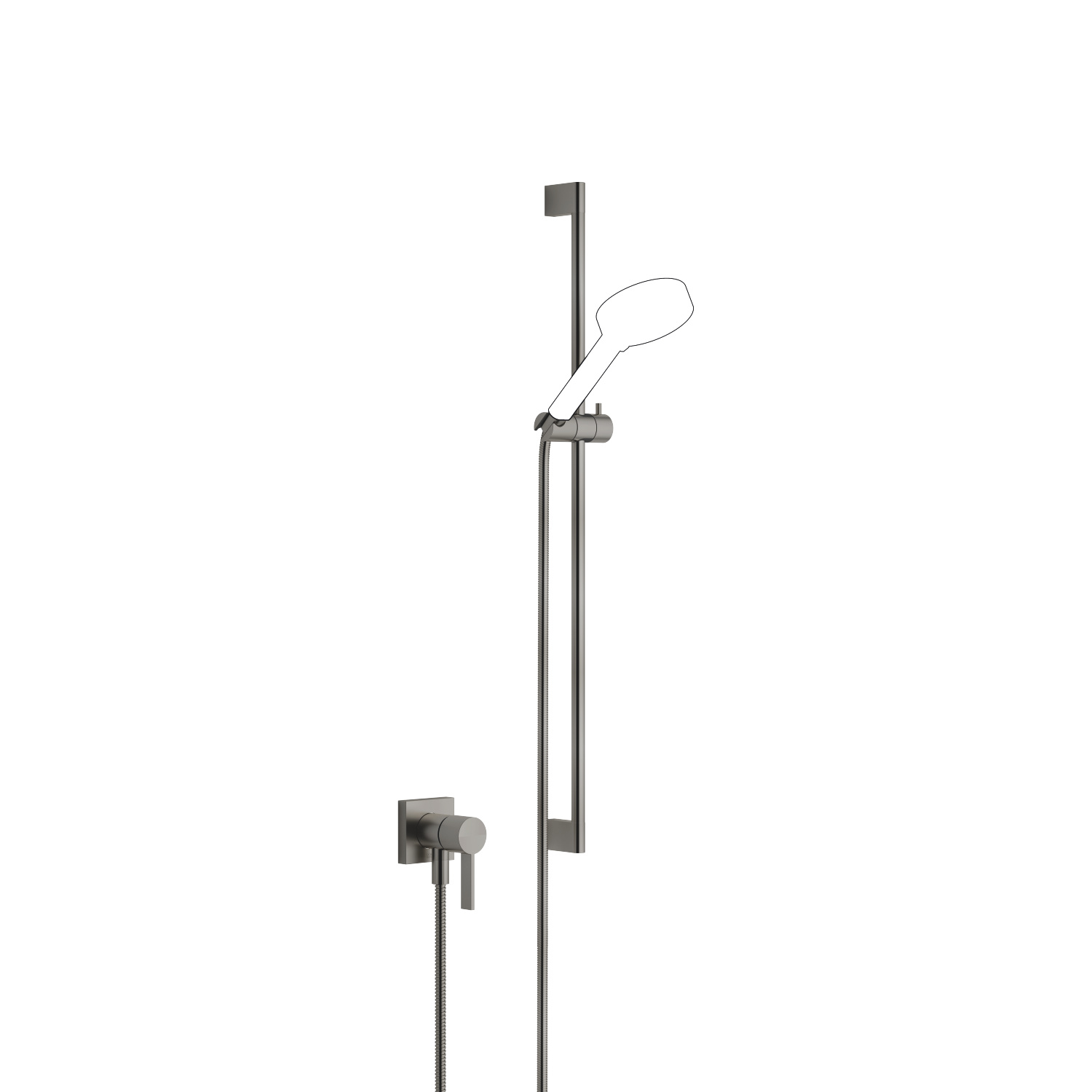Concealed single-lever mixer with integrated shower connection with shower set without hand shower - Dark Platinum matt