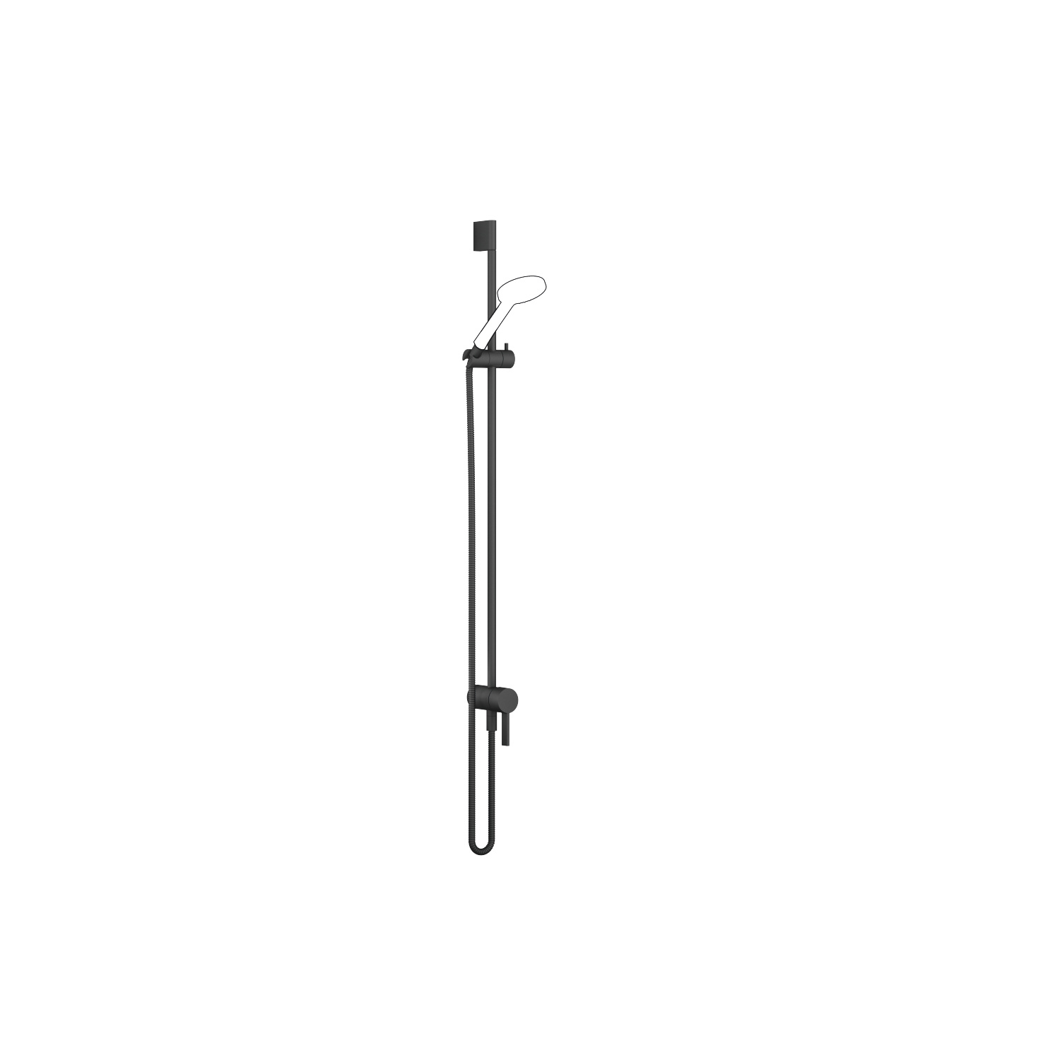 Concealed single-lever mixer with integrated shower connection with shower set - matt black