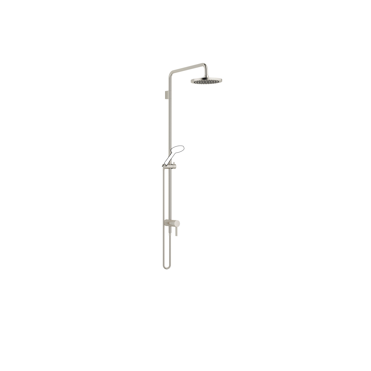 Showerpipe with single-lever shower mixer - platinum matt