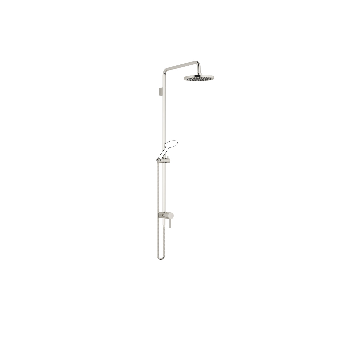 Showerpipe with single-lever shower mixer - platinum