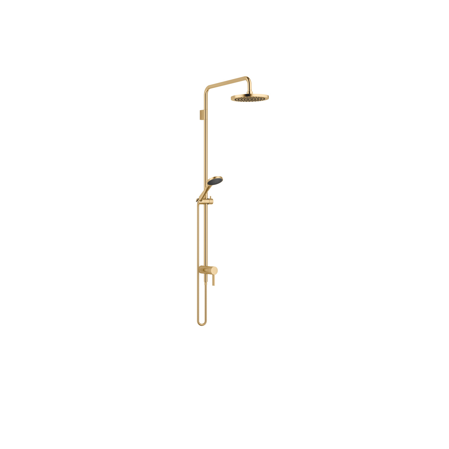 Showerpipe with single-lever shower mixer - brushed Durabrass