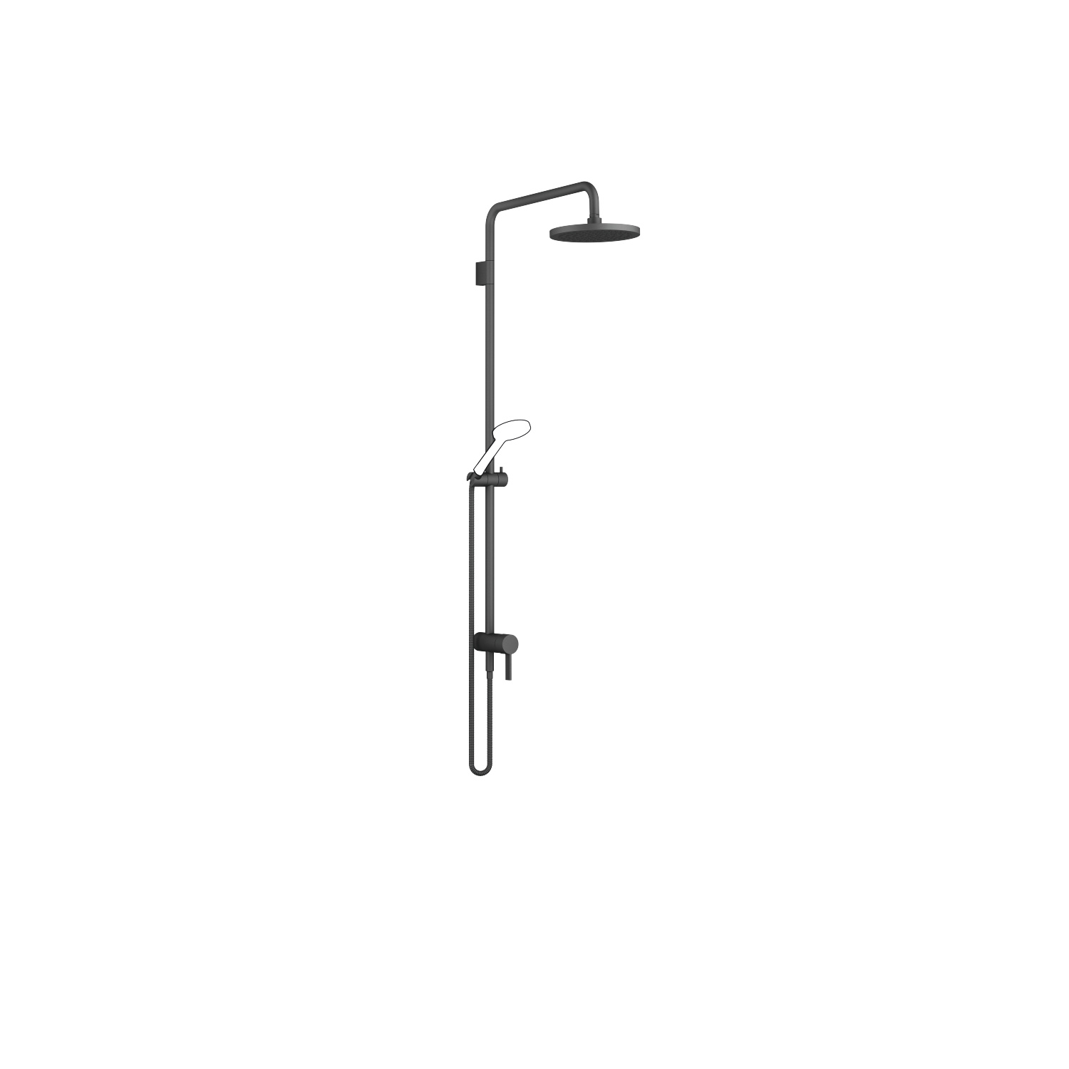 Showerpipe with single-lever shower mixer - matt black