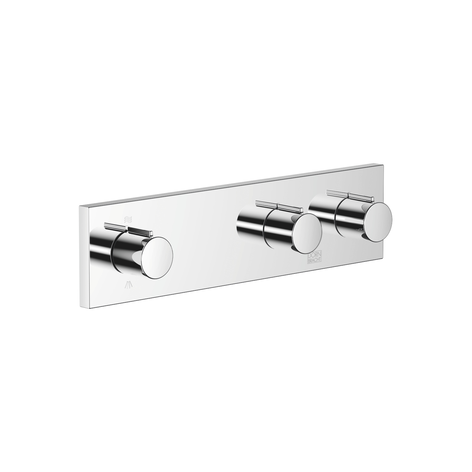 Wall valve with 2 valves with diverter for wall mounting - polished chrome