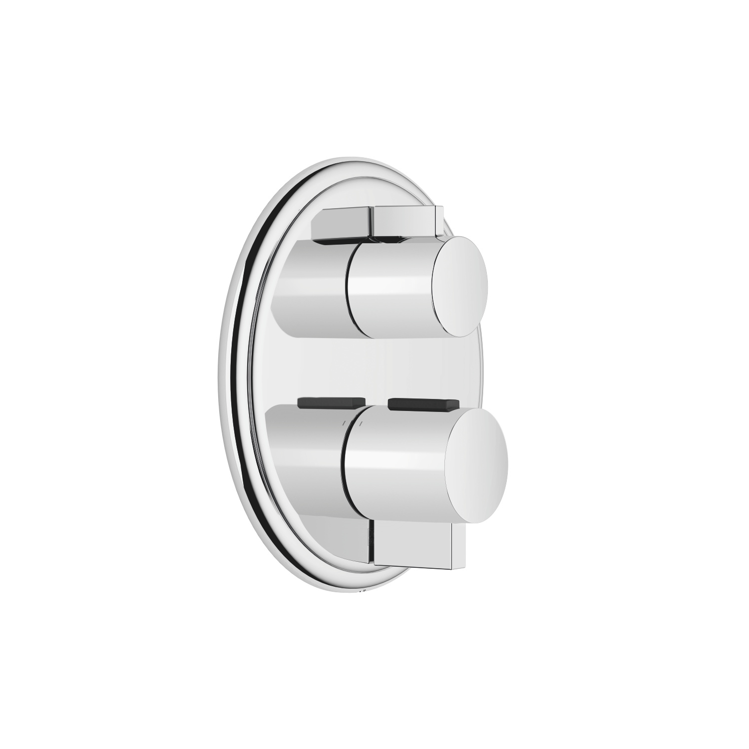 Concealed thermostat with one-way volume control - polished chrome