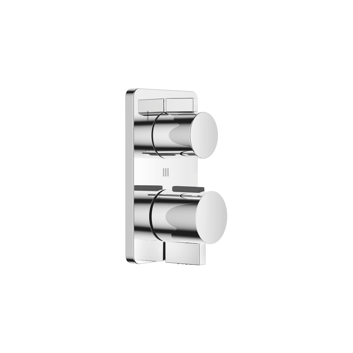 Concealed thermostat with three-way volume control - polished chrome