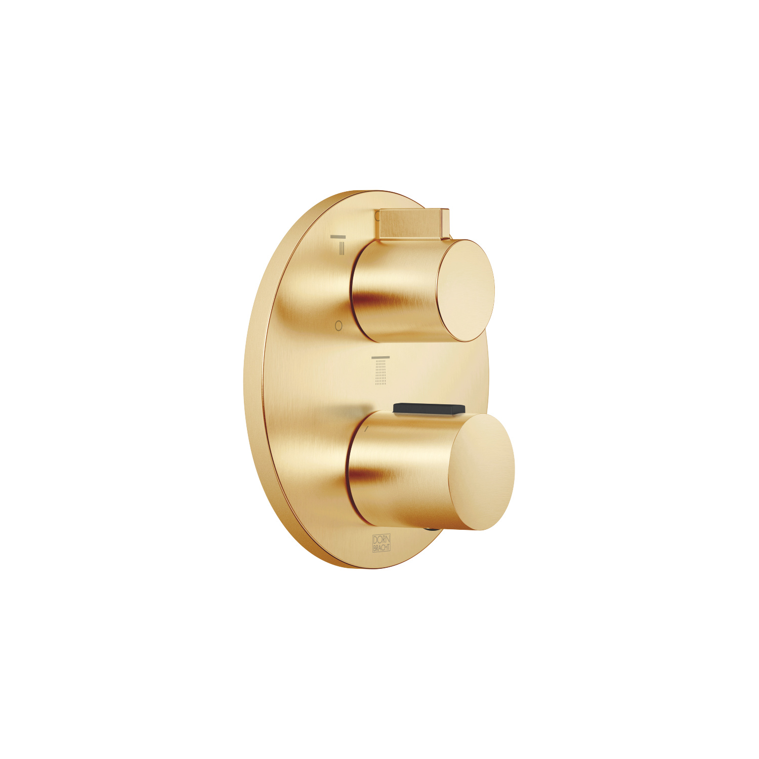 Concealed thermostat with three function volume control - brushed Durabrass