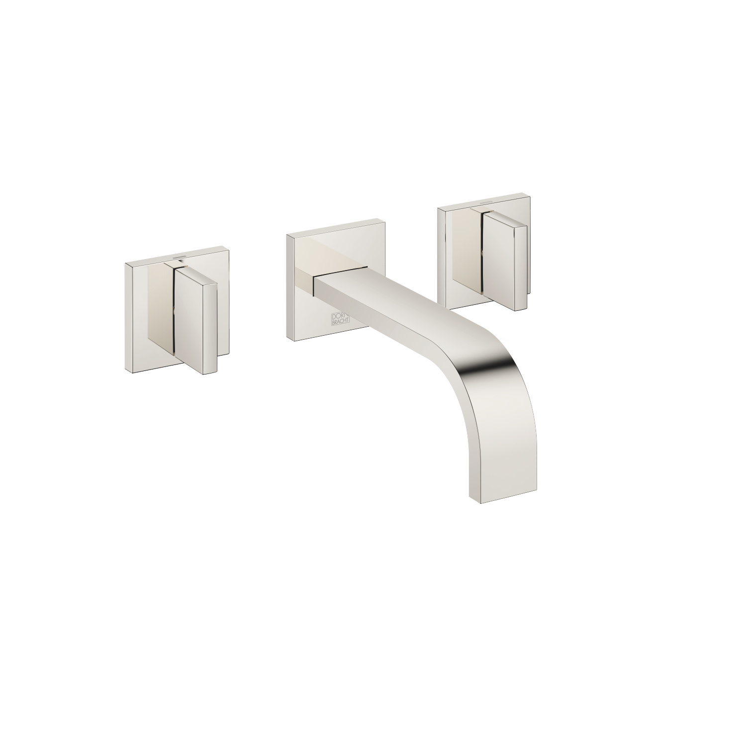 Wall-mounted three-hole lavatory mixer without drain - platinum