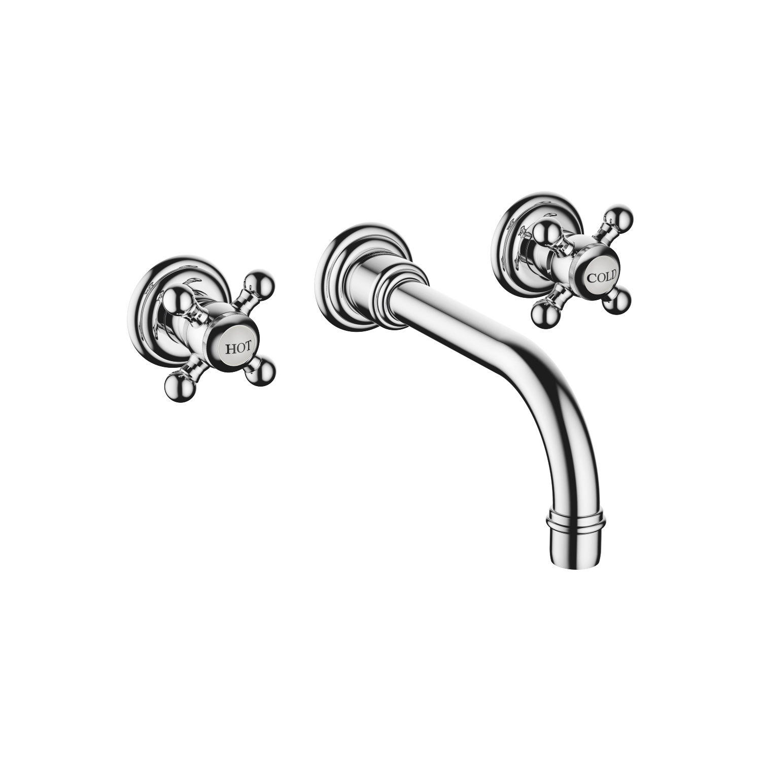 Wall-mounted three-hole lavatory mixer without drain - Brushed Durabrass - 36 712 361-28 0010