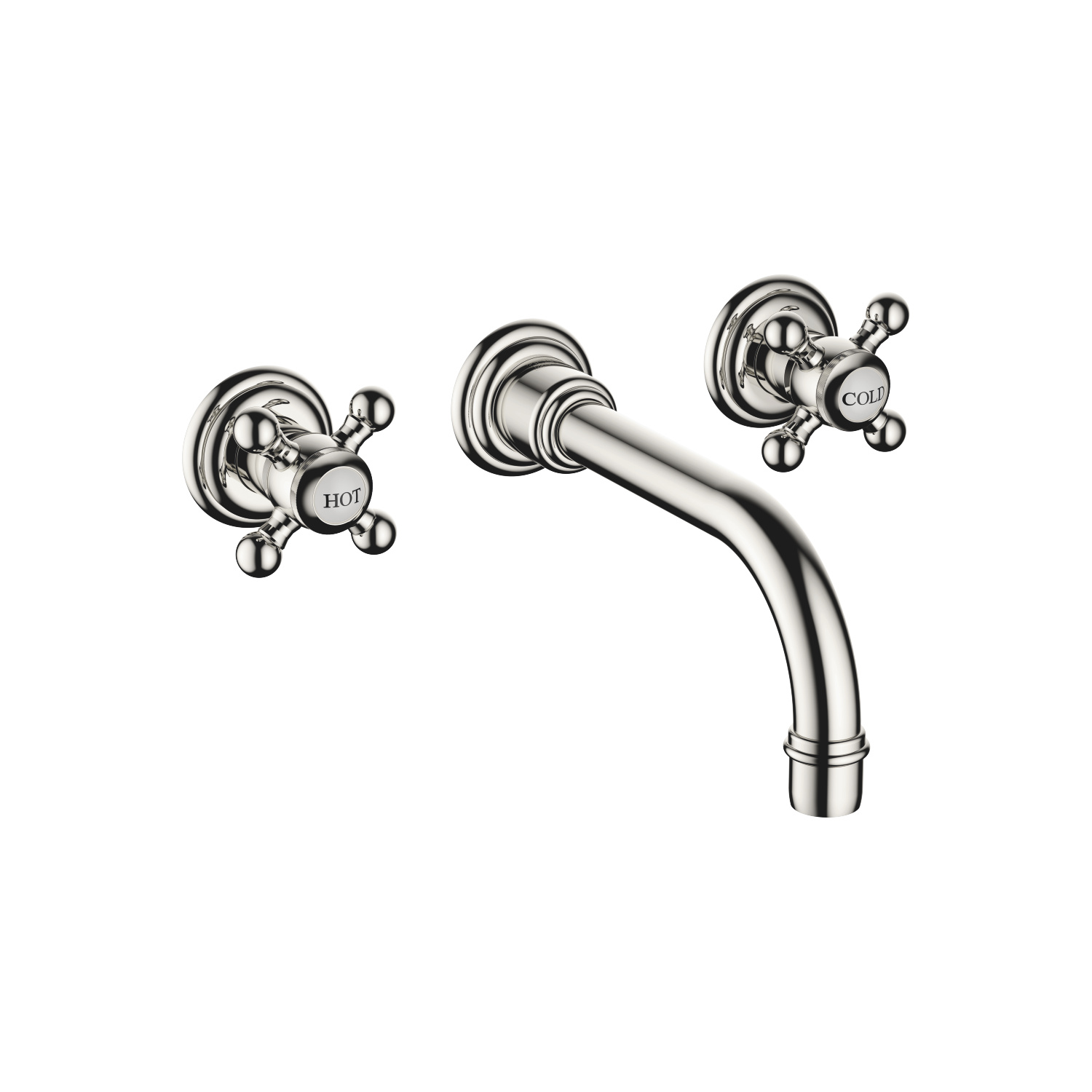 Wall-mounted basin mixer without pop-up waste - platinum