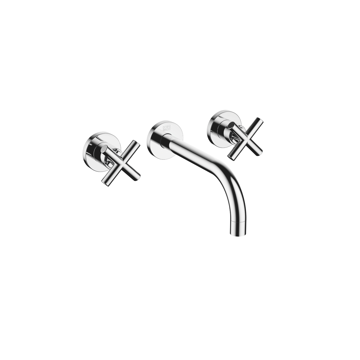 Wall-mounted basin mixer without pop-up waste - polished chrome