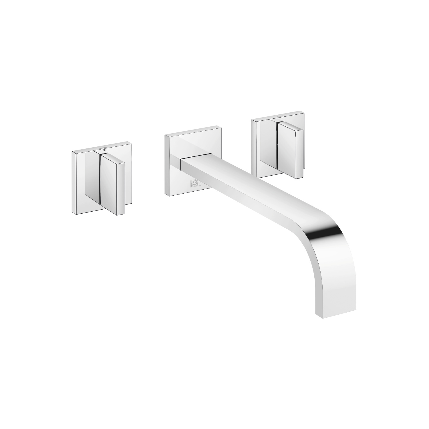 Wall-mounted three-hole lavatory mixer without drain - polished chrome