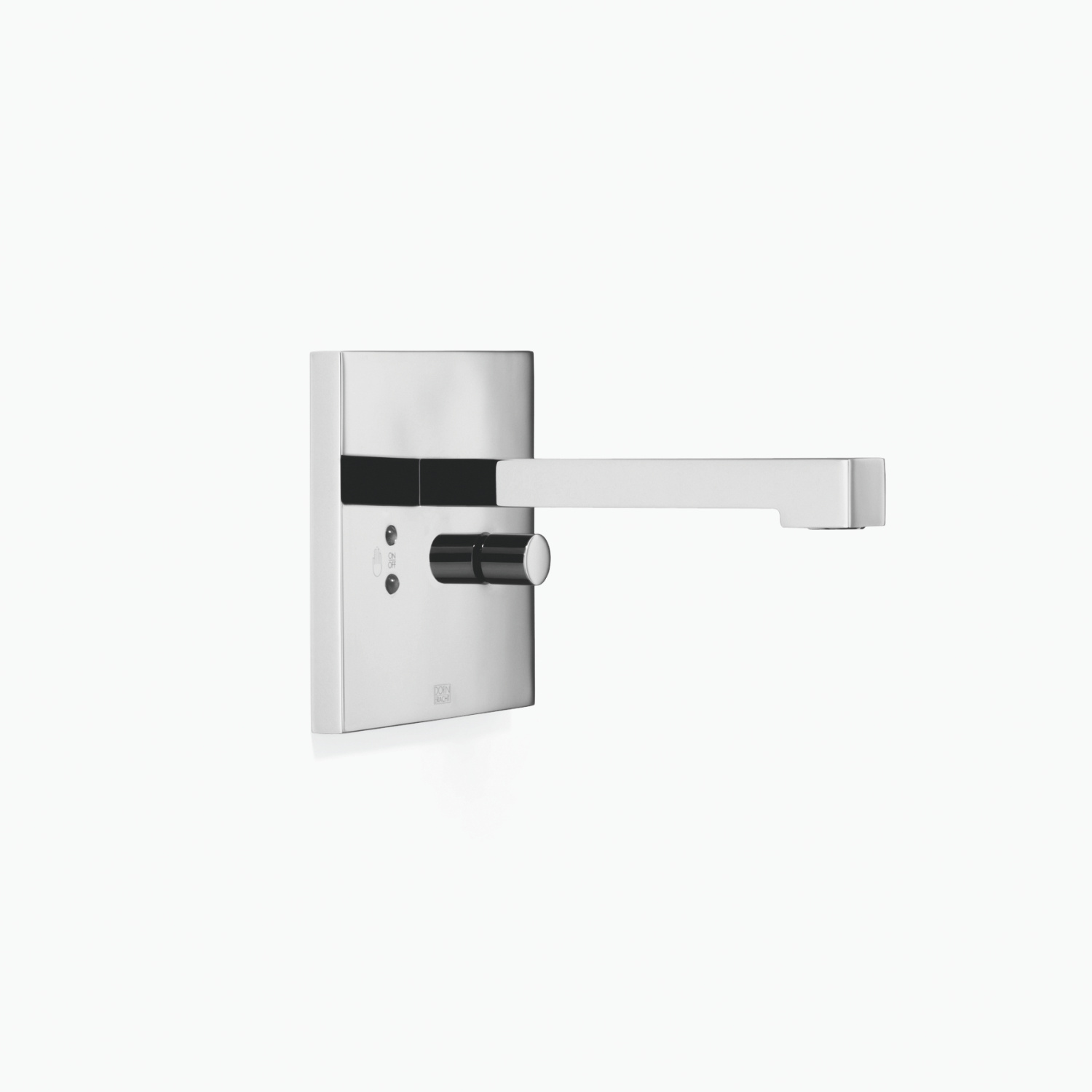 Wall-mounted infrared basin mixer with mixing button without pop-up waste - polished chrome