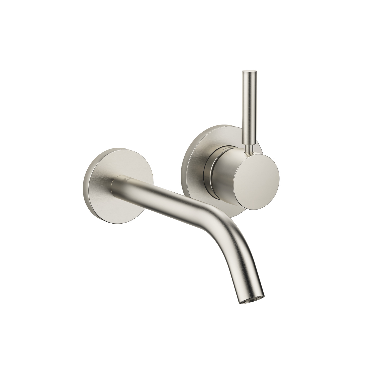 Wall-mounted single-lever basin mixer without pop-up waste - platinum matt