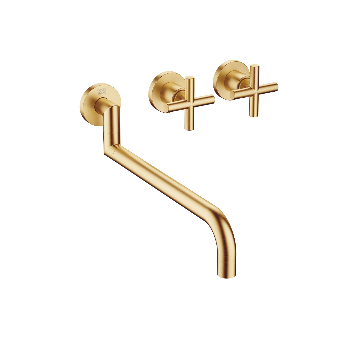 Wall-mounted sink mixer - brushed Durabrass