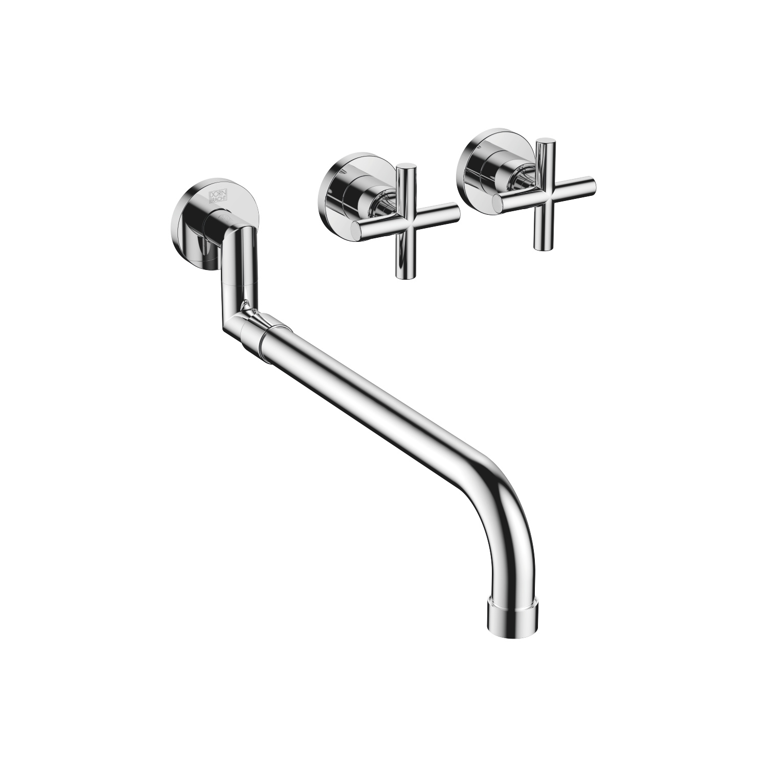 Wall-mounted sink mixer with extending spout - polished chrome