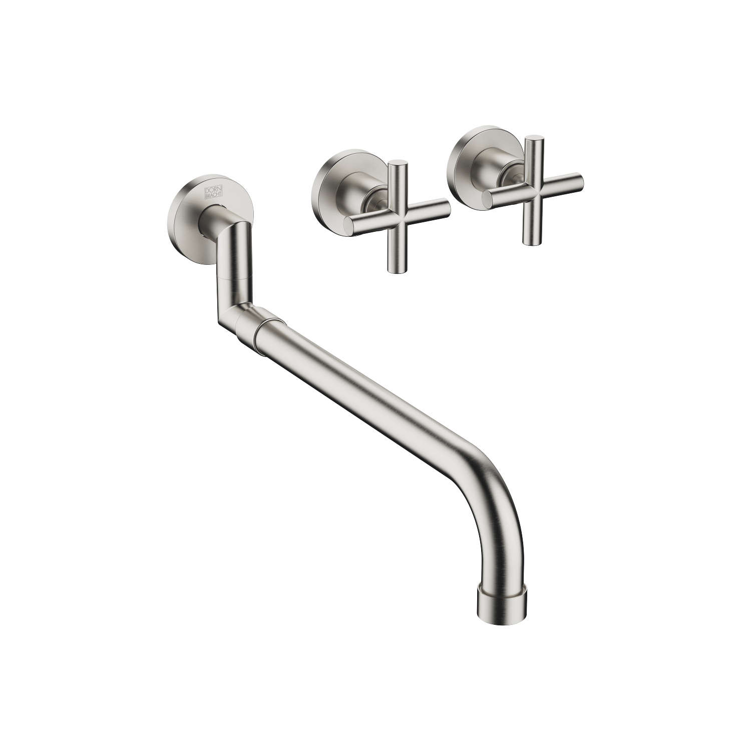 Wall-mounted sink mixer with extending spout - platinum matt