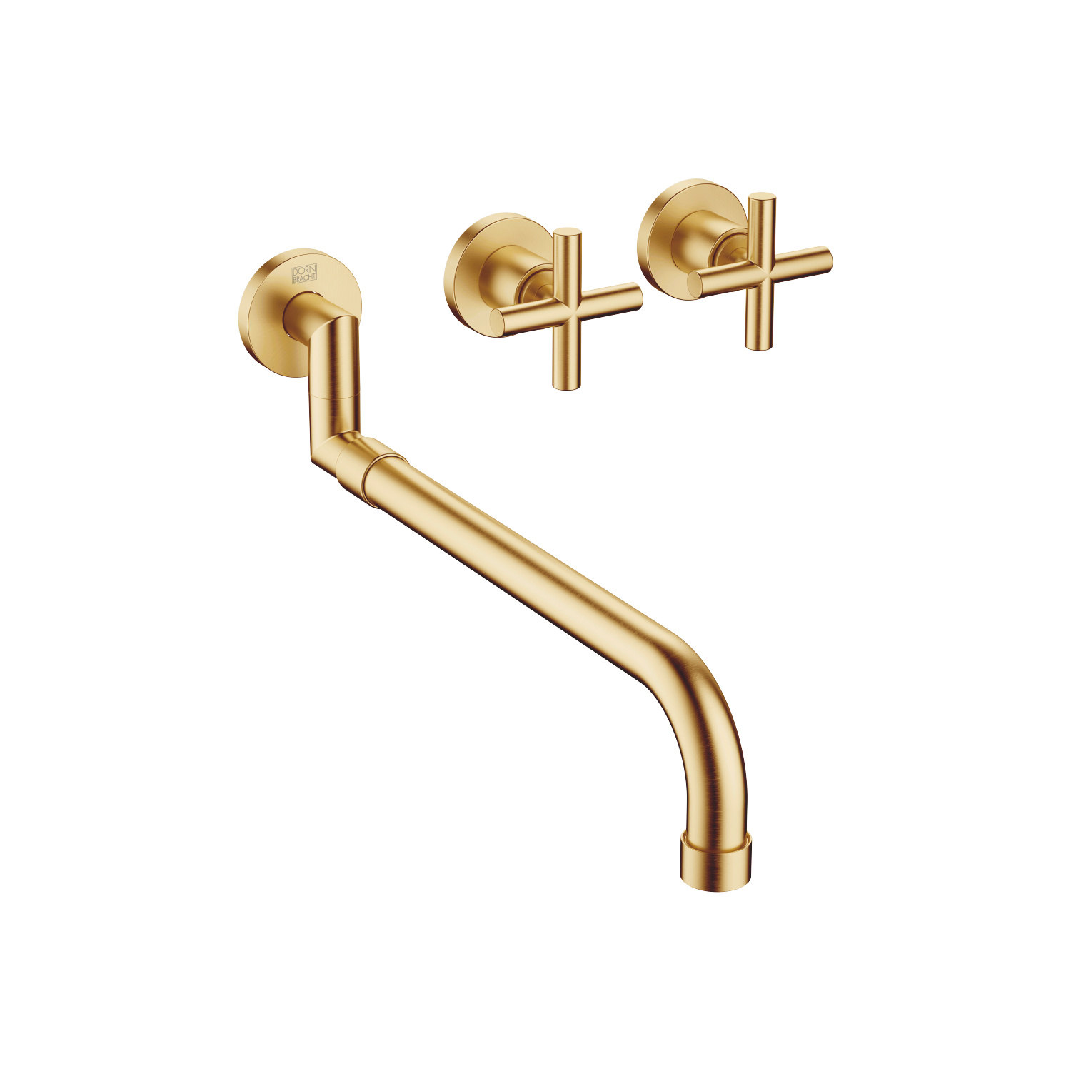 Wall-mounted sink mixer with extending spout - brushed Durabrass - 36 819 892-28