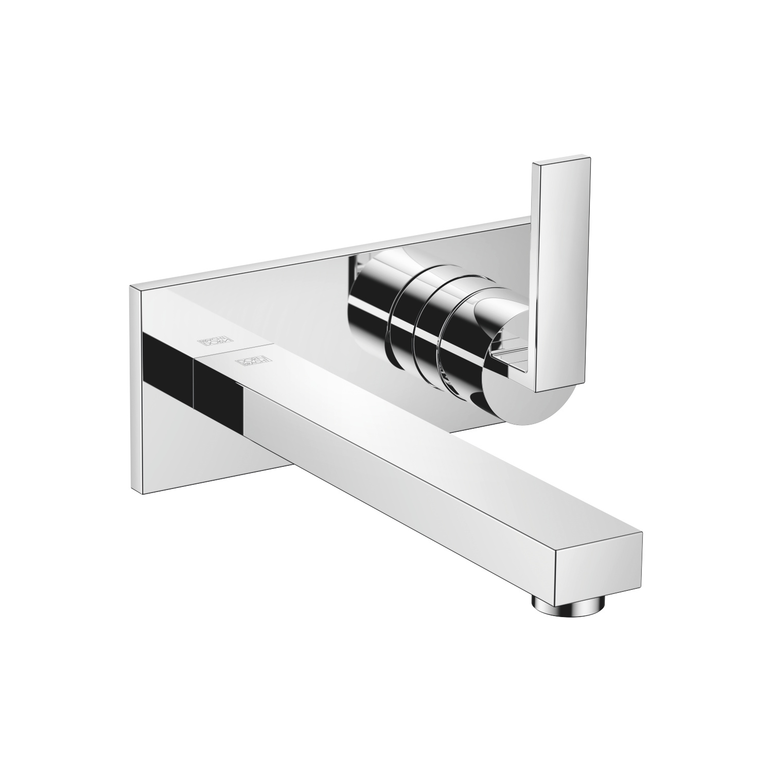 Wall-mounted mixer with cover plate - polished chrome