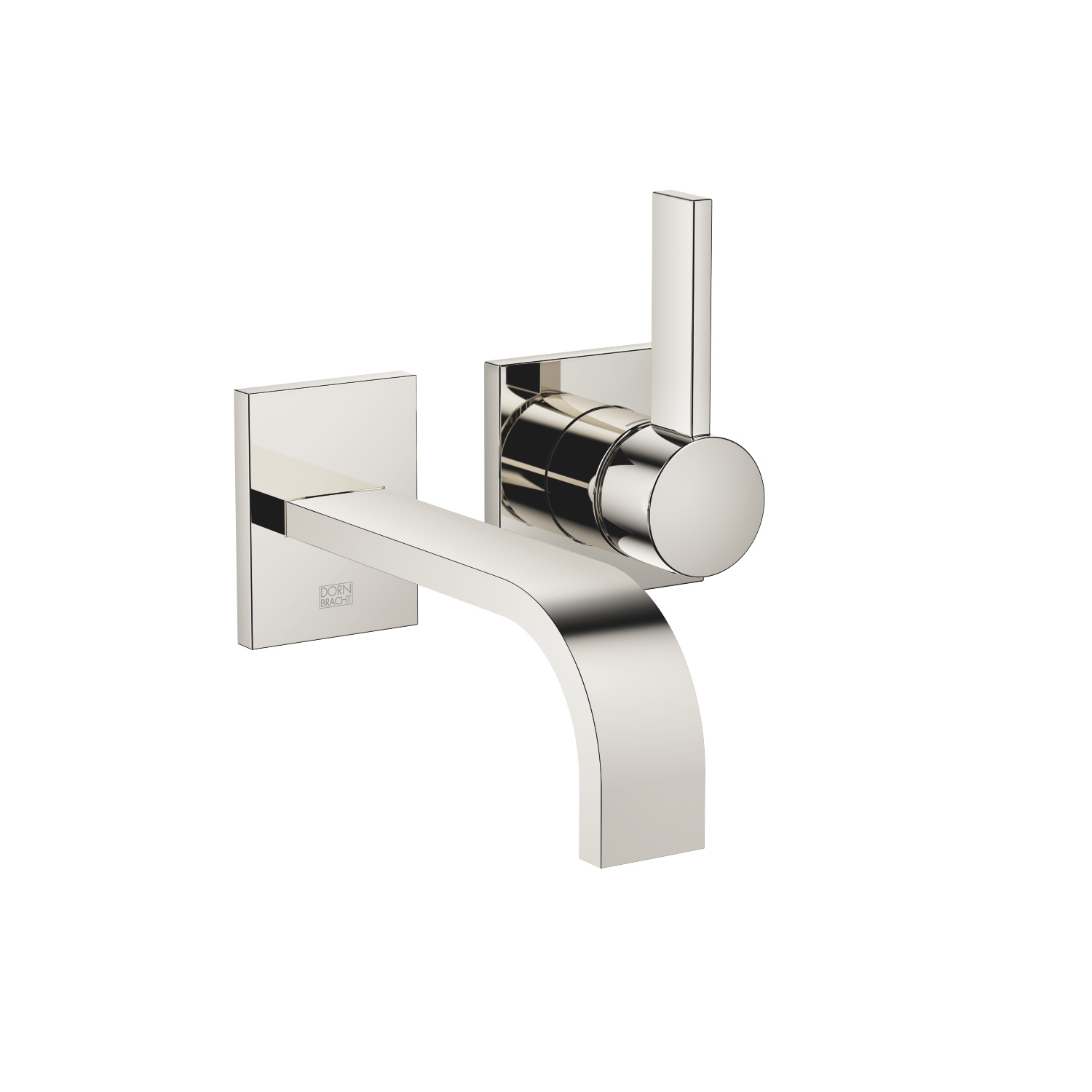 Wall-mounted single-lever basin mixer without pop-up waste - platinum