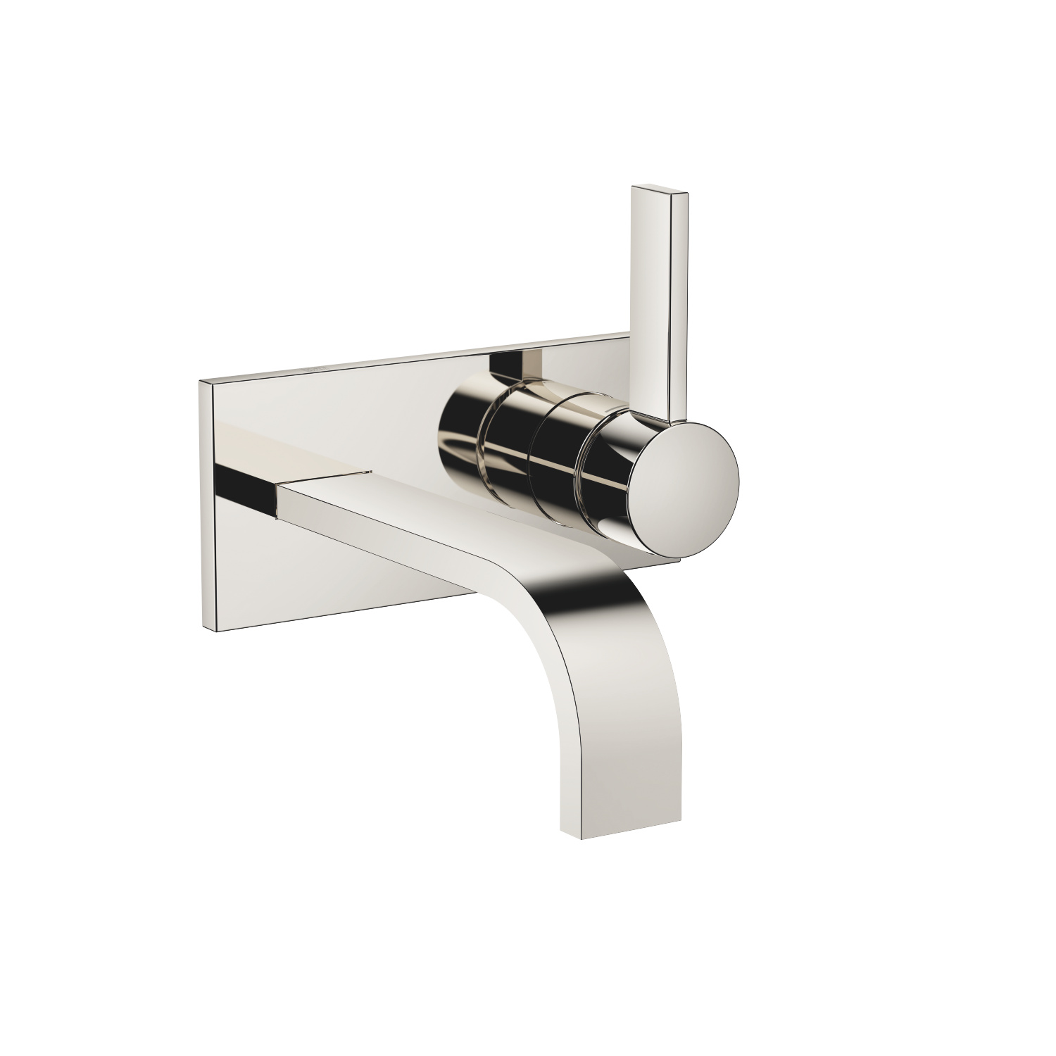 Wall-mounted single-lever mixer with cover plate without drain - platinum