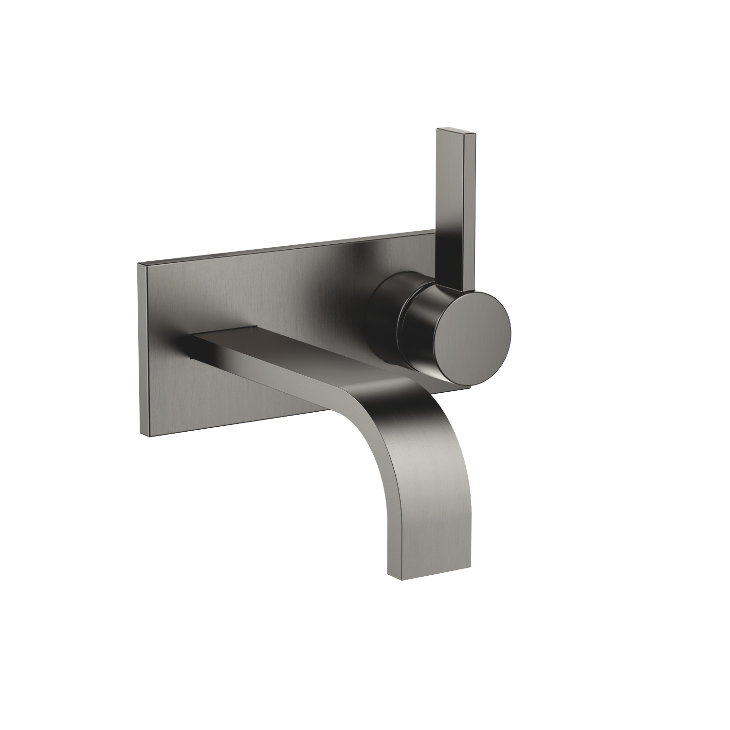 Wall-mounted single-lever basin mixer with cover plate without pop-up waste - Dark Platinum matt