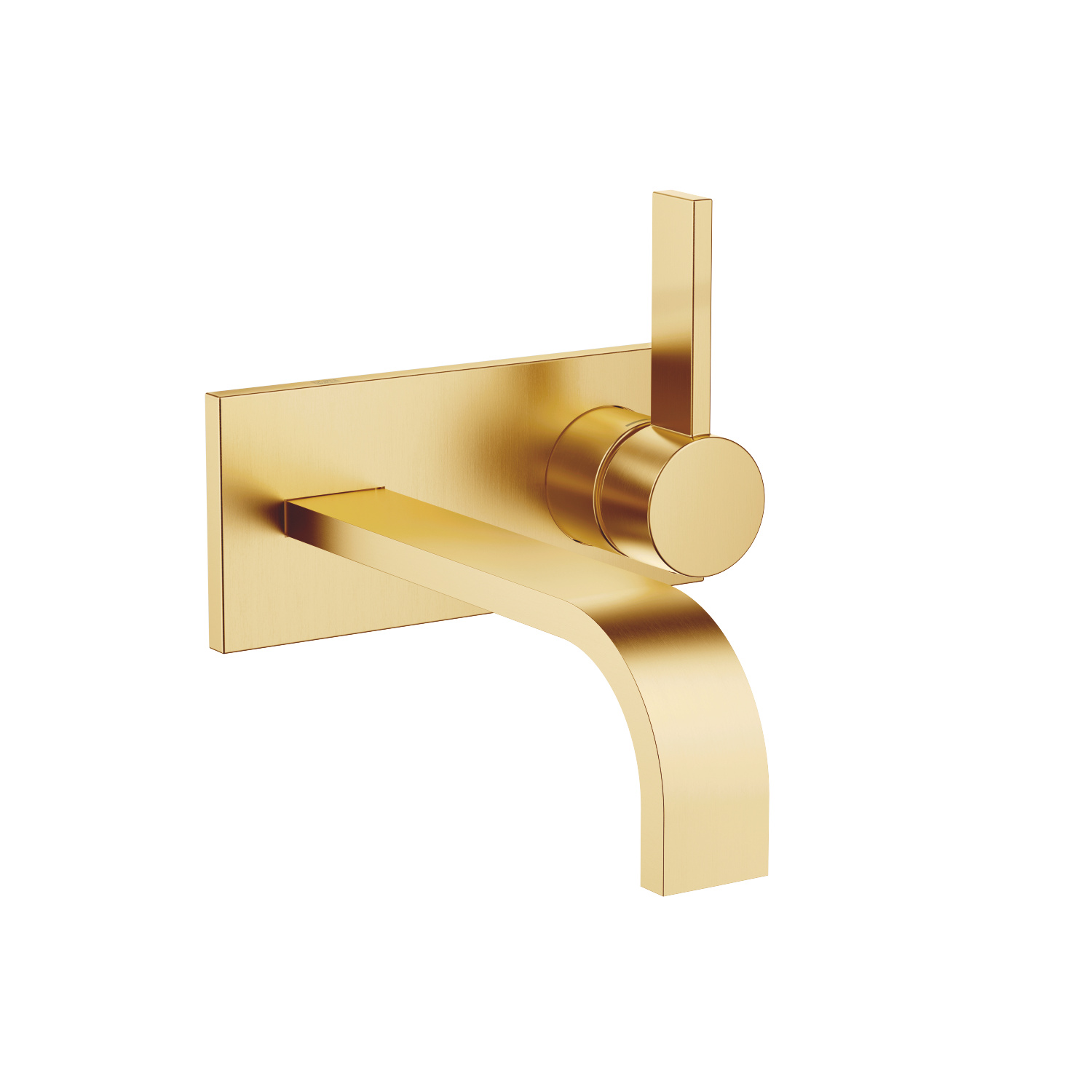 Wall-mounted single-lever basin mixer with cover plate without pop-up waste - brushed Durabrass - 36 864 782-28